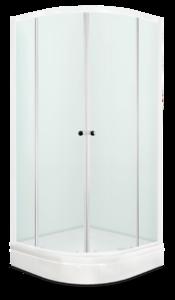 Душевое ограждение 90х90 Fit 99, высота 1,95 м, дверки - сатин матированное стекло, профиль - белый, для низкого поддона фото
