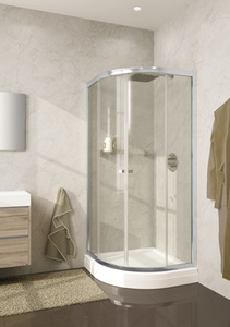 Душевое ограждение 100х100 Lucena, высота 1,95, дверки - прозрачное стекло, профиль - хром, для низкого поддона фото