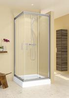 Душевое ограждение 100х100 Hamar, высота 1,95, дверки - прозрачное стекло, профиль - хром, для низкого квадратного поддона