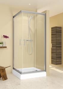 Душевое ограждение 90х90 Hamar, высота 1,95, дверки - прозрачное стекло, профиль - хром, для низкого квадратного поддона фото