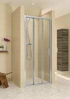 Душевая раздвижная дверь в нишу Hamarnika-R114, 100х195 см, прозрачное стекло 5 мм, профиль - хром, трехстворчатая
