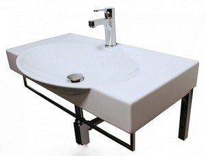 Раковина умывальник Infinity 76,5х45 см белый в комплекте с кронштейнами фото