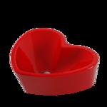 Раковина чаша в форме сердца Love is 45х40 см, красная