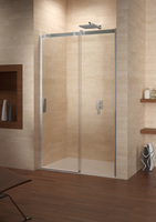 Душевая раздвижная дверь в нишу Ocean O104, 120х195 см, прозрачное стекло 8 мм, профиль - хром, двустворчатая